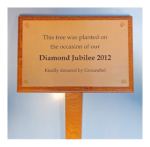 Memorial plaques supplied with a hardwood backing board and ground stake