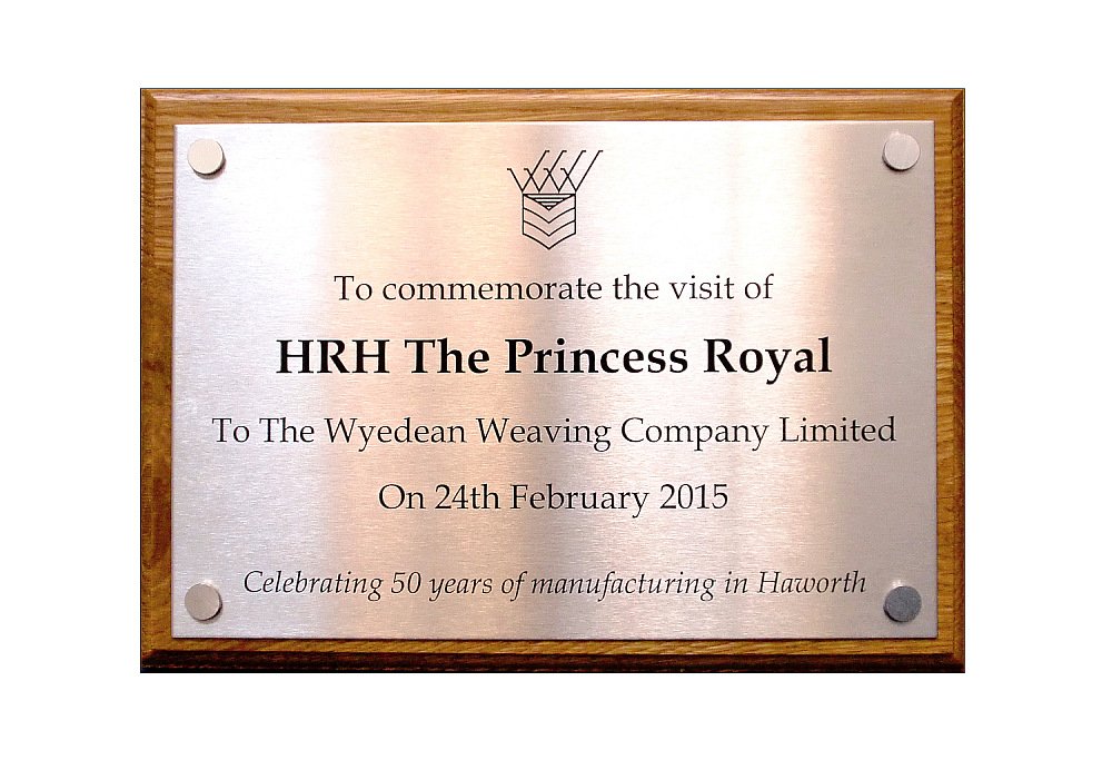Commemorative Plaque for Royal visit. Bespoke stainless steel or polished brass