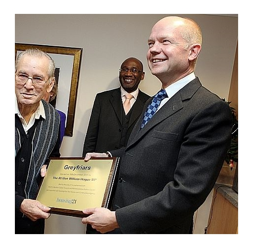 Commemorative Plaque with William Hague. Wooden bases are manufactured in solid oak or mahogan