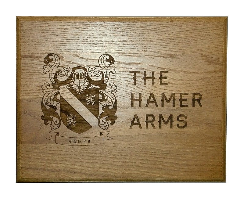 The Hamer Arms wooden pub signage