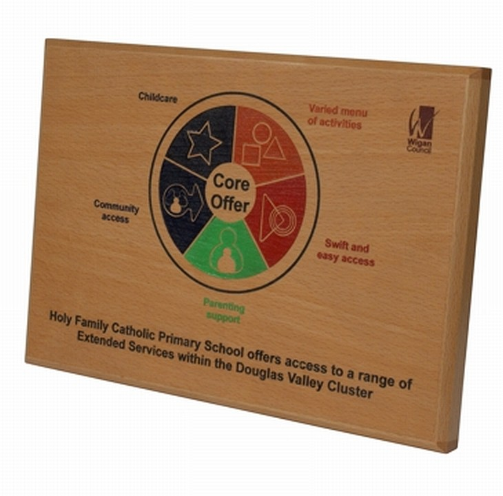Wigan Council Wooden Plaques with colour design