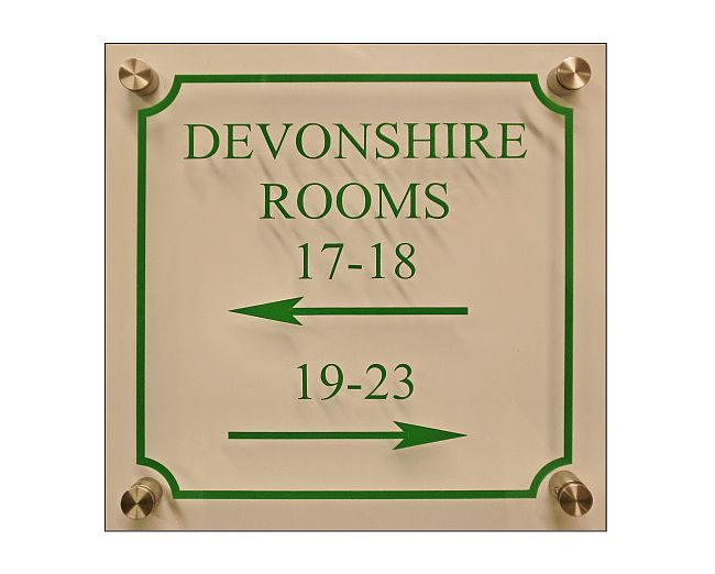 Acrylic hotel wall plaques reverse engraved in colour