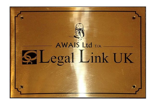 Polished brass company wall plaques engraved with logo