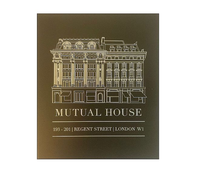 Brass hotel plaques engraved with logo