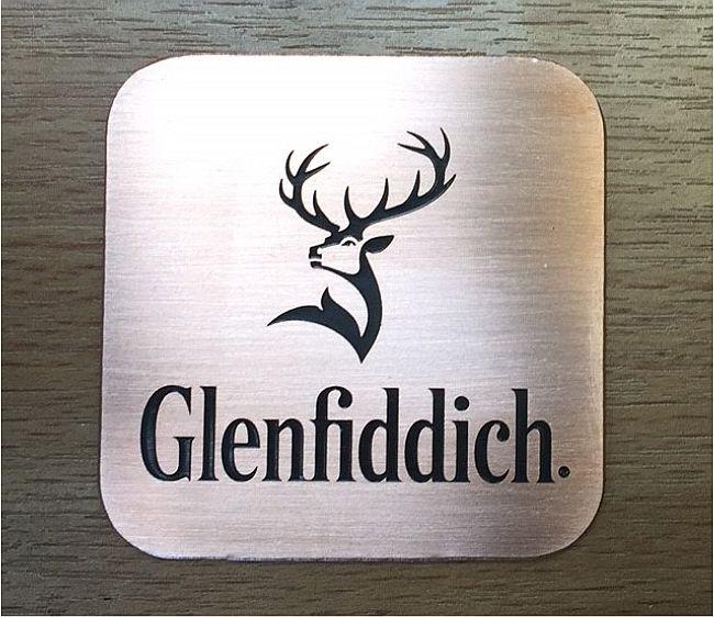 Brass Glenfiddich company plaque engraving