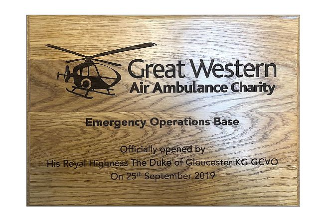 Air Ambulance oak wooden commemorative plaque engraved with logo