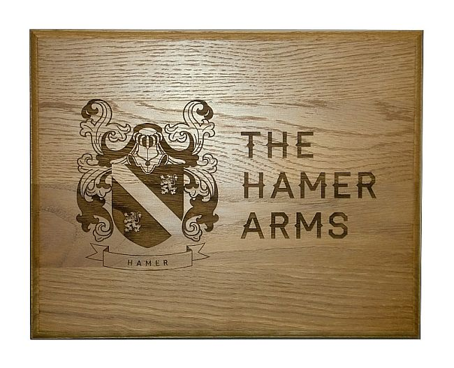 Oak wooden family coat of arms plaques engraved