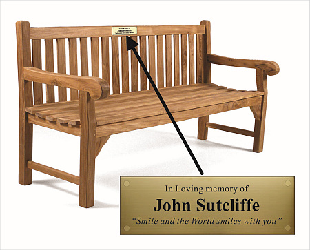Brass and steel memorial bench plaques engraved