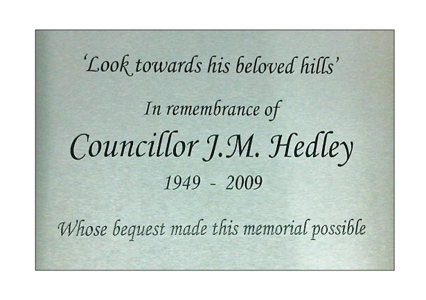 Brass and steel engraved memorial plaques with ground stake