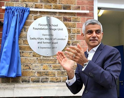 Stainless steel round opening plaques engraved for Sadiq Khan, London