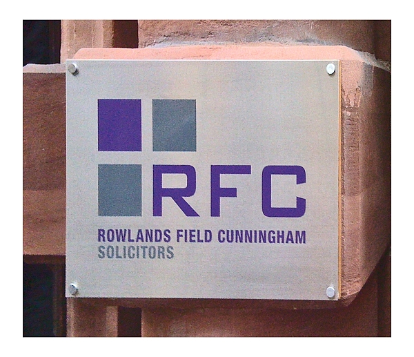 Stainless steel company plaques engraved with logo in colour
