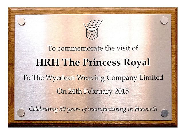 Stainless steel commemorative wall plaques engraved for HRH the Princess Royal