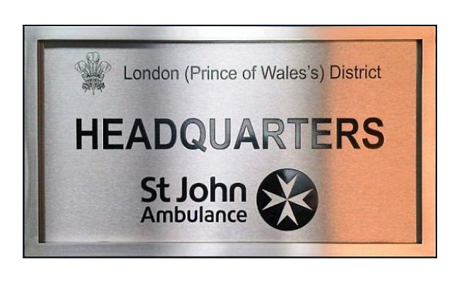 Stainless steel company plaques engraved with steel frame and logo